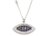 Silver CZ Eye Necklace