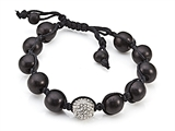 Adjustable Rhinestone Ball Wood Bracelet