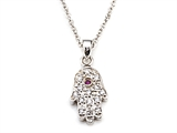 Silver CZ Eye Hamsa Necklace