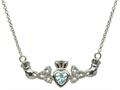 ShanOre® Claddagh Trinity Design with 5mm Simulated Aquamarine Heart Pendant