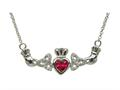 ShanOre® Claddagh Trinity Design with 5mm Simulated Ruby Heart Pendant