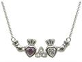 ShanOre® Claddagh Trinity Mothers Pendant with 2 Simulated Stones of your choice (5mm Heart Shape)