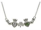 ShanOre Claddagh Shamrock Mothers Pendant Personalize with 2 5mm Heart Shape CZ Stones Style number: MP2S