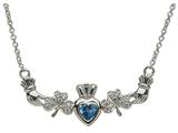 ShanOre® Claddagh Shamrock Design with 5mm Simulated Blue Topaz (CZ) Heart Pendant Necklace style: MP1SBT