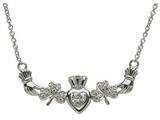 ShanOre® Claddagh Shamrock Design with 5mm Cubic Zirconia (CZ) Heart Pendant style: MP1SCZ