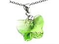 925 Sterling Silver Green Color Crystal Butterfly Pendant made with Swarovski Elements on 18 Inch