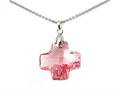 925 Sterling Silver Pink Color Crystal Cross Pendant made with Swarovski Elements on 18 Inch Chain