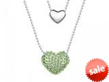 Green Heart Necklace made with Swarovski Elements on 20 Inch Adjustable Chain