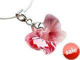 925 Sterling Silver Pink Color Crystal Butterfly Pendant made with Swarovski Elements style: SF1003