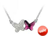 Purple Color Butterfly Pendant made with Swarovski Elements on 16 Inch Adjustable Chain