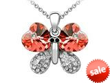 Large Pink Butterfly Pendant made with Swarovski Elements on 16 Inch Adjustable Chain style: SF1007
