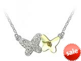 Yellow Butterfly Pendant made with Swarovski Elements on 16 Inch Adjustable Chain