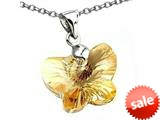 925 Sterling Silver Light Orange Color Crystal Butterfly Pendant made with Swarovski Elements on 18 Inch Ch style: SF1012