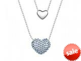 Dark Blue Heart Necklace made with Swarovski Elements on 20 Inch Adjustable Chain