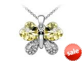 Large Yellow Butterfly Pendant made with Swarovski Elements on 16 Inch Adjustable Chain