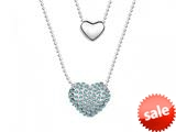 Light Blue Heart Necklace made with Swarovski Elements on 20 Inch Adjustable Chain