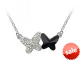 Black Color Butterfly Pendant made with Swarovski Elements on 16 Inch Adjustable Chain