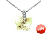 925 Sterling Silver Yellow Crystal Butterfly Pendant made with Swarovski Elements on 18 Inch Chain