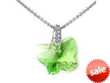 925 Sterling Silver Green Peridot Color Crystal Butterfly Pendant made with Swarovski Elements on 18 Inch Chain