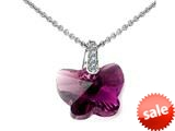 925 Sterling Silver Dark Purple Amethyst Color Crystal Butterfly Pendant made with Swarovski Elements on 18 Inch Cha style: SF1027
