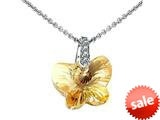 925 Sterling Silver Light Orange Crystal Butterfly Pendant made with Swarovski Elements on 18 Inch Cha