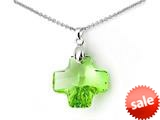 925 Sterling Silver Green Color Crystal Cross Pendant made with Swarovski Elements on 18 Inch Chain style: SF1033