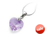 925 Sterling Silver Light Purple Color Crystal Heart Pendant made with Swarovski Elements style: SF1045