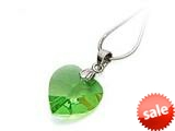 925 Sterling Silver Green Color Crystal Heart Pendant made with Swarovski Elements on 18 Inch Chain