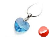 925 Sterling Silver Blue Color Crystal Heart Pendant made with Swarovski Elements on 18 Inch Chain