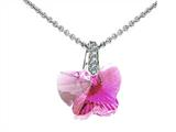 925 Sterling Silver Pink Color Crystal Butterfly Pendant made with Swarovski Elements on 18 Inch Chain