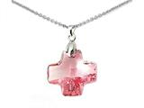 925 Sterling Silver Pink Color Crystal Cross Pendant made with Swarovski Elements on 18 Inch Chain style: SF1036