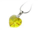 925 Sterling Silver Yellow Color Crystal Heart Pendant made with Swarovski Elements on 18 Inch Chain