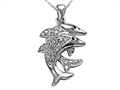 Dolphin Pendant with Genuine Round Diamonds