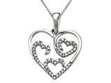 Genuine Diamond Heart Shaped Pendant with Three Internal Hearts