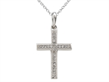 10K White Gold Genuine Diamond Cross Pendant