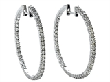Genuine 1.00 cttw  Diamonds Hoop Earrings - IGI Certified