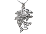 Dolphin Pendant with Genuine Round Diamonds style: SK12793