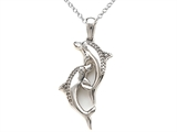 10K White Gold Dolphin Pendant Witth Genuine Round Diamonds