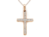 10K Rose Gold Genuine Diamond Cross Pendant