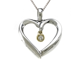 Genuine Heart Shaped Pendant with a Diamond Dangle