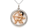 Sterling Silver Sagittarius Zodiac Diamond Pendant