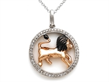 Sterling Silver Leo Zodiac Diamond Pendant