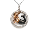 Sterling Silver Capricorn Zodiac Diamond Pendant