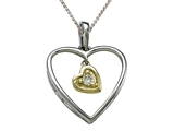 Genuine Heart Shaped Pendant with a Diamond Heart Dangle