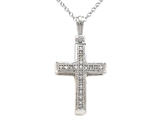 10K White Gold Genuine Diamond Cross Pendant style: SK9324