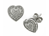 Genuine Heart Shaped Round Diamonds Earrings
