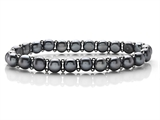 Genuine Button Pearl Stretchable Bracelet with Silver Beads