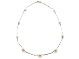 Genuine Pearl and Silver Necklace style: 650003