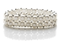 Double Row Genuine Button Pearl Stretchable Bracelet with Silver Beads