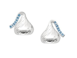 Sterling Silver Small Flat Back Shaped Hershey`s Kiss Stud Type Earrings